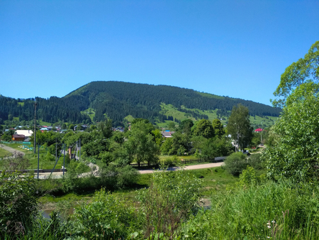 The small town Verkhovyna in Ukrainian Carpathian region at sunny summer day