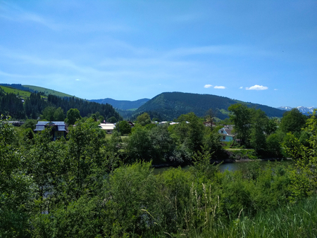 Carpathian mountains near Verkhovyna at summer sunny day
