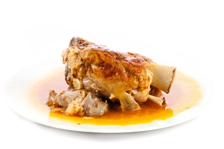knuckle of pork isolated on white photo
