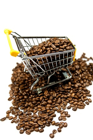 trolly: beans of coffeed shopping trolly isolated