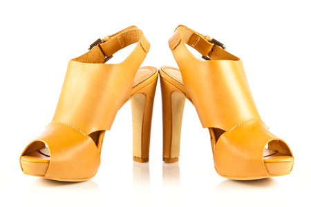 High heel women shoes on white background photo