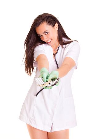 Doktor medical healthcare girl isolated on white background photo