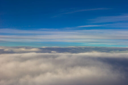 cloud drift: sky clouds plane Stock Photo