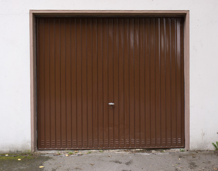 garage door: brown garage door Stock Photo