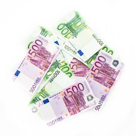 european union currency: euro bills  euro banknotes money. European Union Currency Stock Photo