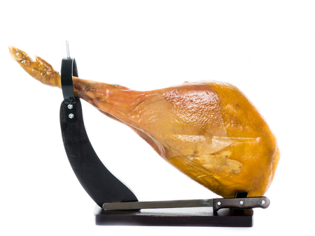 jamon: Jamon. Jamon serrano.Spanish ham on white background close up.