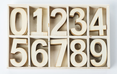 decimal: numbers numerals from wood Stock Photo