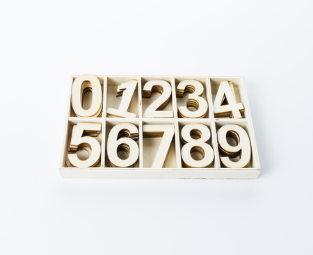 numerals: numbers numerals from wood Stock Photo