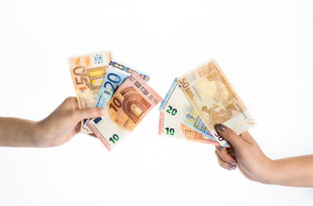euro notes: hands holding euro money bills banknotes Stock Photo