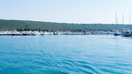 numerous yachts in the Port of  Zadar. Croatia