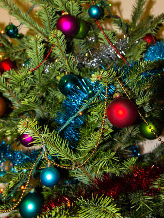 newyear: decoration on Christmas tree. Happy Newyear. background image