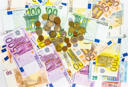 euro banknotes: money euro banknotes and coins Stock Photo