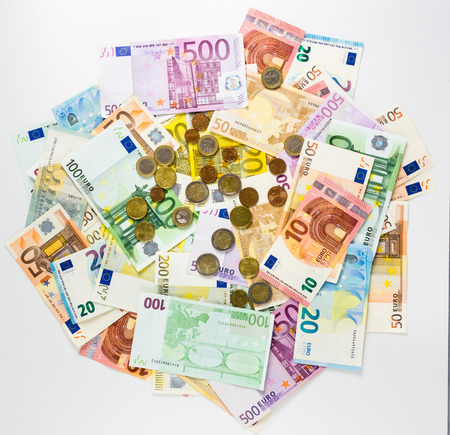 money euro banknotes and coins Stock Photo