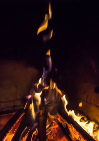 warmth: burning fireplace. bonfire warmth Stock Photo