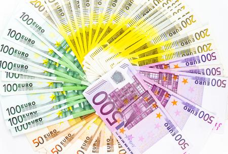 euro banknote money finance cash on white background