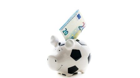 twenty euro in Piggybank isolated on white background. savings
