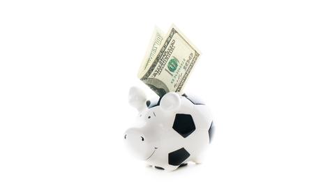 one hundred dollars: one hundred US dollars in Piggybank isolated on white background. bucks