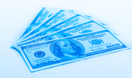 one US dollar banknotes on white background. buckes