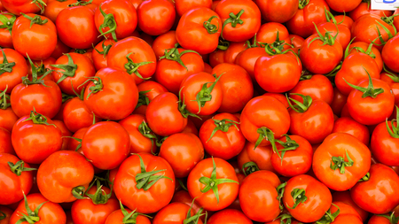 composition: group of red tomatoes Stock Photo