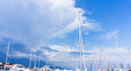 masts of yachts sailsboats. blue sky Stock Photo