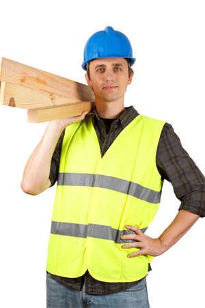 Worker man holding planks. Over white. Zdjęcie Seryjne