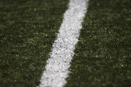Detail of lines of soccer field. DOF