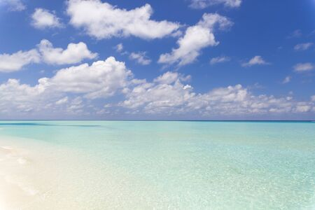 Tropical beach in paradise with clear crystal water in Maldives.