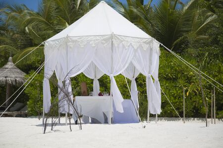 Dining table in the beach in Maldives. The table is right on the shore with a lot of vegetation at background.