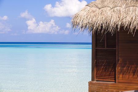 Detail of a bungalow in front of the lagoon in Maldives.