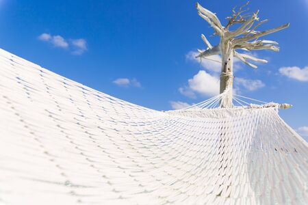 Hammock hold by a white tree in a shallow and clear sea on the lagoon in Maldives. Stock Photo