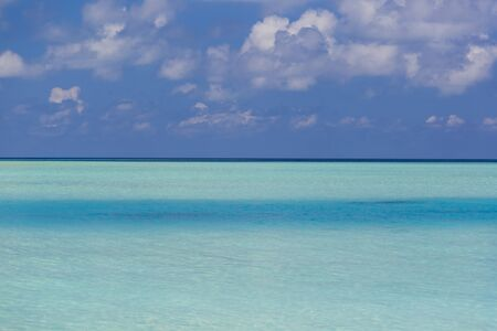 Crystal clear water in Maldives. There is a contrast in the water depending on the depth.