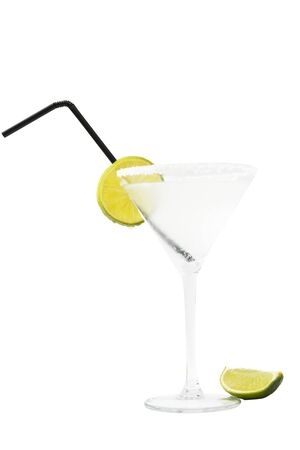 Margarita with lima and straw over white. Stock Photo