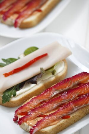 Delicious sandwich with gravlax, turkey and green vegetables.