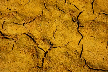 Yellow dried mud in rio Tinto, Huelva.
