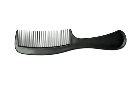 long handled: Black comb isolated on white close up look Stock Photo