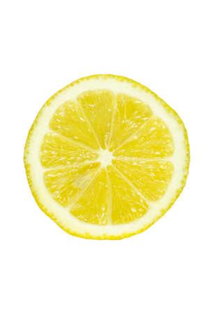 Slice of fresh lemon isolated on white background photo