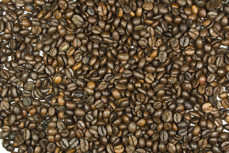 throughout: Coffee beans are placed throughout the image area