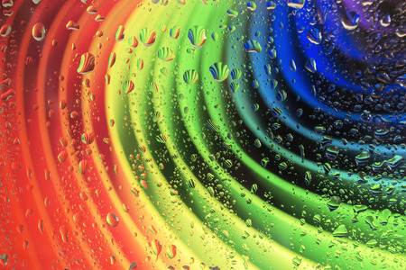 hydrophobic: rainbow and drops of rain Stock Photo