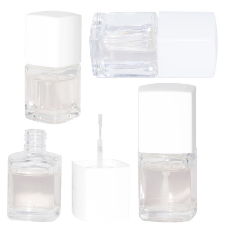 lacquer: Set clear lacquer nail polish isolated on white
