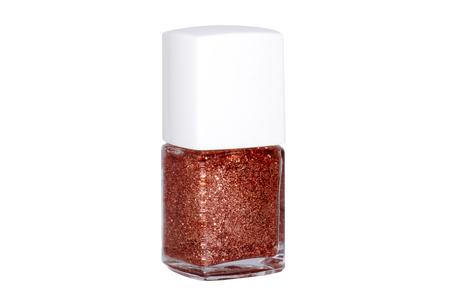 nailpolish: Red Glitter nail polish isolated on white Stock Photo