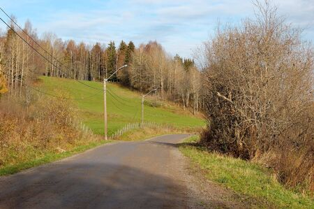 forground: A dirt road leading around a bend, with some bushes in the forground and autumn-clad trees in the background.