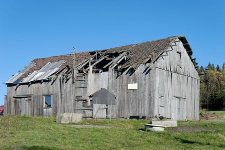 An old amandoned barn in rural Norway   Stock Photo