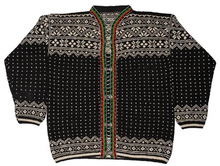 A traditional Norwegian black sweater with folded arms.