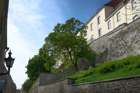 The battlements of the upper city in Tallinn, Estonia, photographed from Pikk Jalg street. The image is HDR tonemapped from three individual exposures.