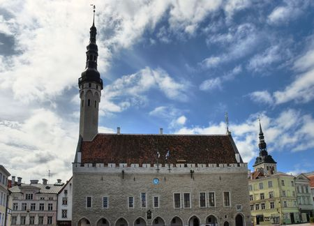 Wideangle shot of Tallinn townhall, executed in high dynamic range tonemapping from three individual exposures.