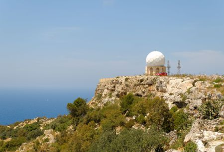 Radar dome at the Dingli Cliffs on Malta.   Stock Photo