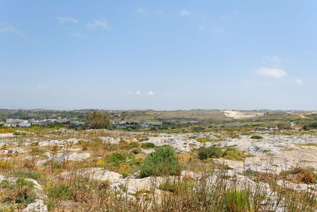 Barren stony steppe landscape in Southern Malta, near Dingli.   Stock Photo