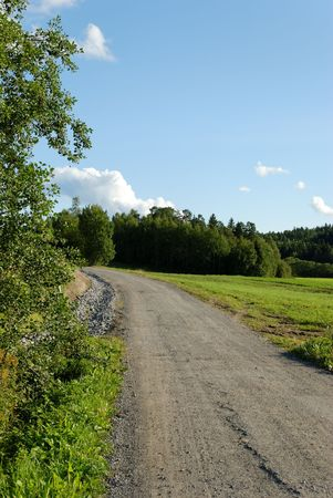 A dirt track, leading through countryside.
