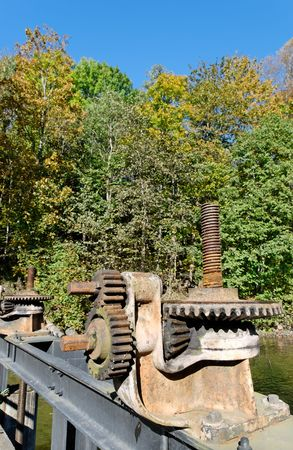 Rusty gearbox on Akerselva river flood-gate  Stock Photo