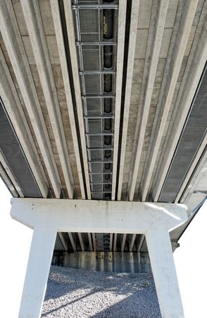 Isolated supports and underworks of a highway bridge